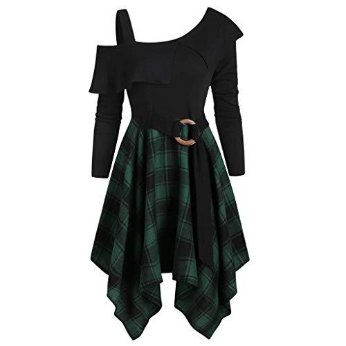 Star Trek Mini Dress (Fashion Womne Plus Size Plaid Skew Neck Belted Handkerchief Sexy Mini Dress)
