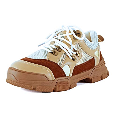 Guilty Heart Womens Retro Multimaterial Daddy Colorblock High Platform Fashion Comfortable Sneakers (6 M US, Taupe)