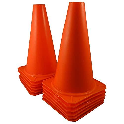 JKNA 9'' Tall Orange Cones Sports Training Safety Cone Qty 12 by JKNA