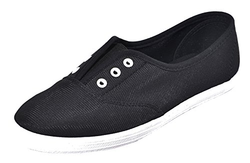 On Toe M Stretch Plimsoll Cambridge No Select Lace Sneaker US negro Women 's Slip B Closed Round White Flat Fashion Elastic 6 88gqI0wU