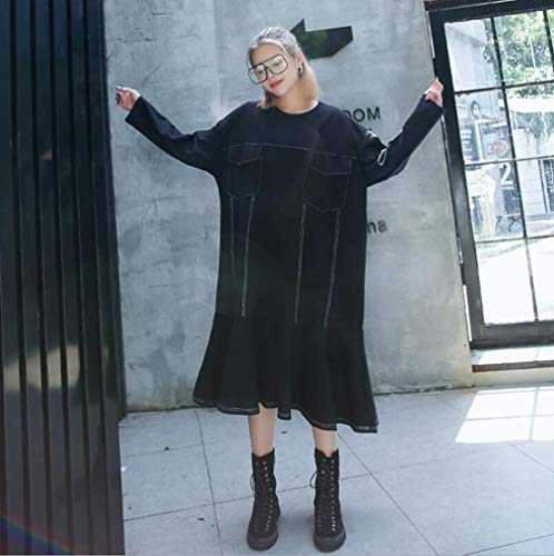 俳句パッチパイプラインプラスサイズのドレス2018新しい女性のフィッシュテールスカートルーズミッドレングスドレスブラック (色 : ブラック, サイズ : One size)