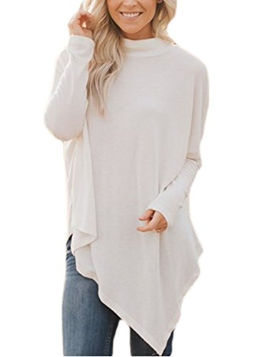 FIYOTE Women Turtleneck Long Sleeve Casual Flared Hankerchief Hem Tunic S-XXL