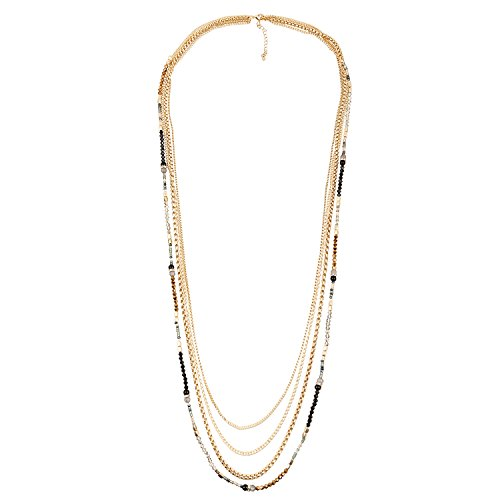D EXCEED Jewelry Multi Layered Thin Beaded Sweater Chain Necklace for Women 38