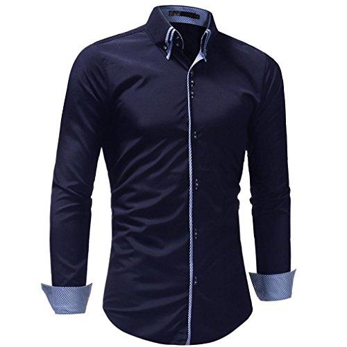 OWMEOT Mens 100% Cotton Casual Slim Fit Long Sleeve Button Down Printed Dress Shirts (,Dark Blue, XL) by OWMEOT