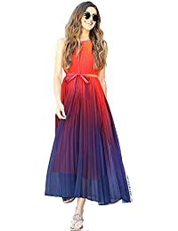 a367dff068e4 Women's Splendor of The Sunset Orange Violet Halter Neck Gradient Pleated  Maxi Slip Chiffon Dress