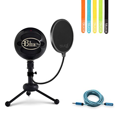 Blue Microphones Snowball USB Condenser Microphone (Gloss Black) -INCLUDES- Blucoil Pop Filter, 6' 3.5mm Headphone Extender AND 5 Pack of Cable Ties