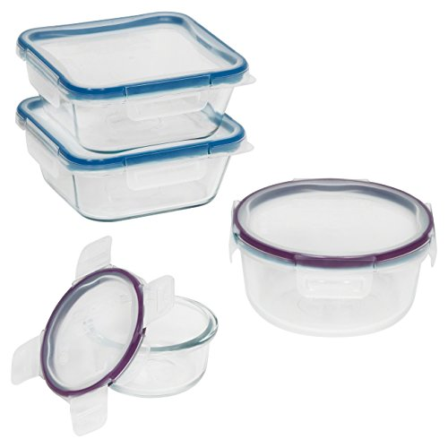 Snapware 8-Piece Total Solution Food Storage Set,  Glass (Christmas Lock)