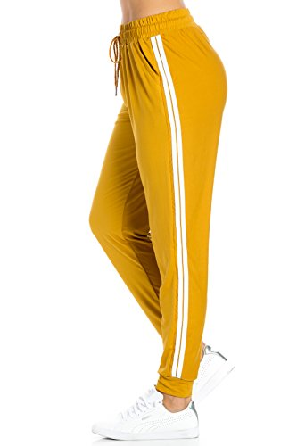 My Yuccie Women's Comfy Jogger Pants with Zipper Side Pockets (S - XL) (Mustard, (Yellow Jogger)