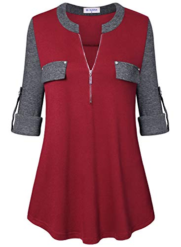 Bulotus 3/4 Sleeve Tunics for Women Casual Tops Zip Front V Neck (Red Grey Patchwork, Medium)