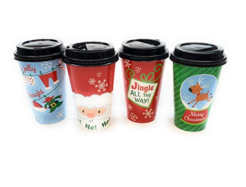 Whimsical Christmas Insulated Coffee Paper Cups 16 oz (12 Pack)