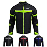 HWK Mesh Motorcycle Jacket Riding Air Motorbike Jacket Biker CE Armored Breathable (XXXX-Large, Green)