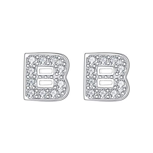 EVER FAITH 925 Sterling Silver Pave Cubic Zirconia Fashion Initial Alphabet Letter B Stud Earrings Clear ()