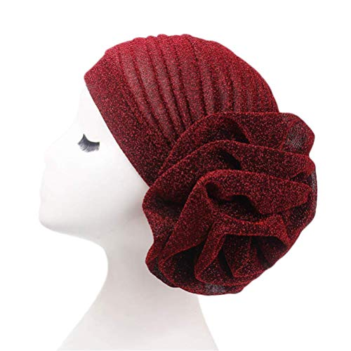 Fxhixiy Women Elastic Glitter Big Flower Turban Beanie Head wrap Hair Loss Chemo Cap Hat ()