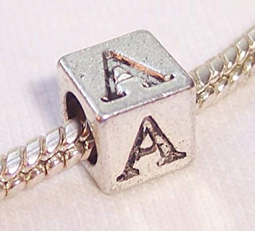 Alpha Symbol Uppercase Greek Letter Numeral A Cube Bead for Euro Charm Bracelets id-2584