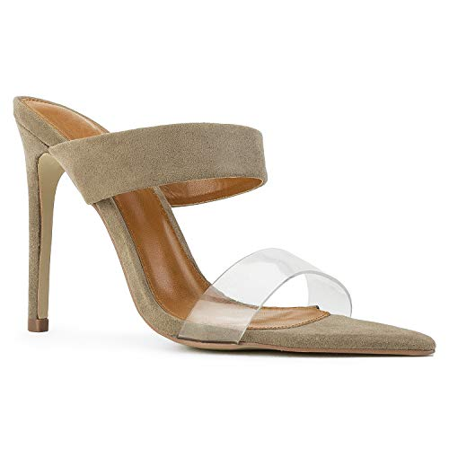 RF ROOM OF FASHION Women's Pointed Transparent Open Toe Stiletto Heel Dress Mule Sandals Taupe ()