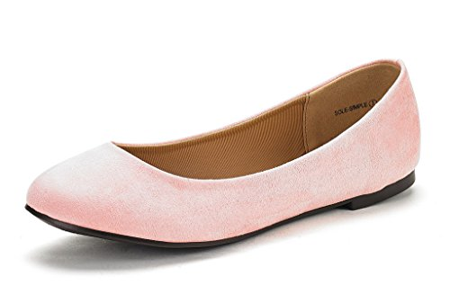 DREAM PAIRS Women's Sole Simple Pink Ballerina Walking Flats Shoes - 8 M US