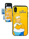 [iPhone XR Wallet Case] KUBRICK Card Holder Slide Cover Simpson Animation Bumper Phone Case Dual Layer Protection UV Printing (Homer Jay Simpson)