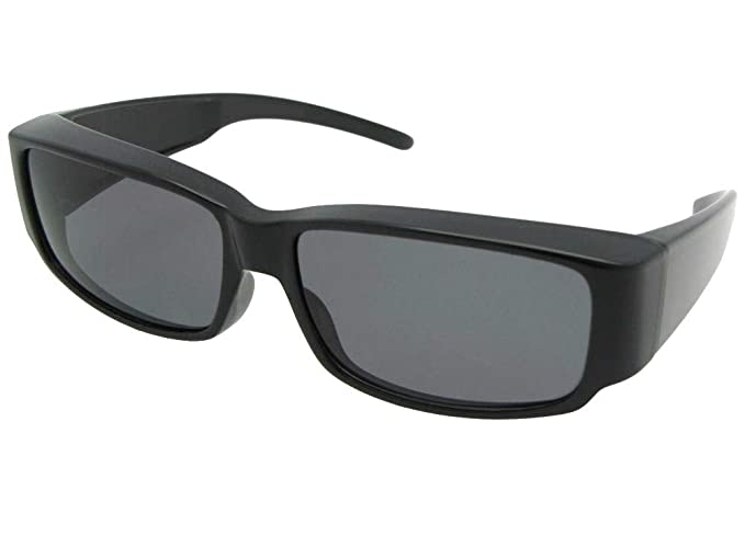 39dc574995f3 Style F25 Small Slim Rectangular Polarized Fit Over Glasses With A Sunglass  Rage Pouch (Black