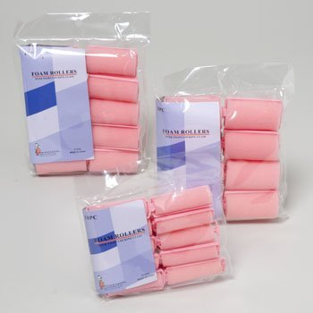 HAIR ROLLERS FOAM 3ASST SIZES PINK 8LG/10MED/10SMALL, Case Pack of 72