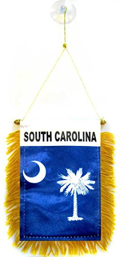AZ FLAG South Carolina Mini Banner 6'' x 4'' - US State of Caroline du Sud Pennant 15 x 10 cm - Mini Banners 4x6 inch Suction Cup Hanger