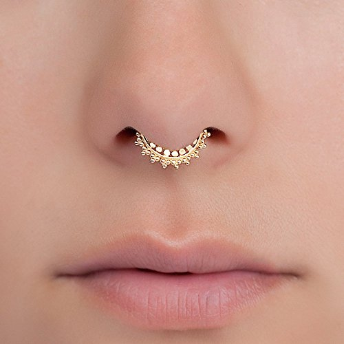 Tiny Gold Fake Septum Nose Ring, Indian Faux Gold Plated Brass Clip On Non Pierced Septum Hoop, 18g, Handmade Piercing Jewelry (Tribal Fake Ring Septum)