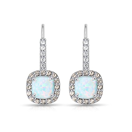 Sterling Silver Simulated White Opal & Simulated Morganite Cushion-cut Halo Leverback Earrings
