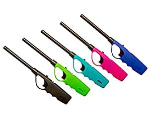 5 Pack Refillable Multi Utility Lighter Assorted Colors BBQ Lighter firestarter for Kitchen Camping Grilling BBQ Home Adjustable Flame with Safety Top Quality Lighters. Ready to use. Child Resistant