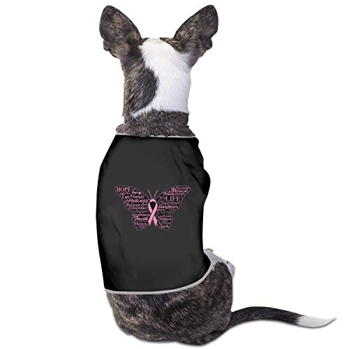 RSADGER Pet Clothing Breast Cancer Awareness Ribbon Butterfly Printed T Shirts Dogs Summer Vest Puppy Pet Shirt