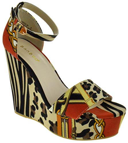 - BAMBOO Choice 64 Womens Slingback Buckle Platform Wedge Dress Sandals Leopard Multi 8.5