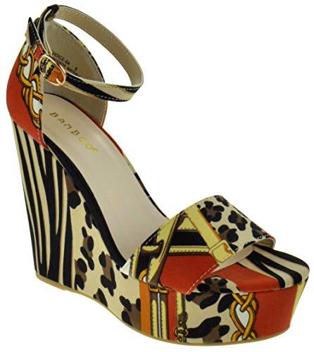 - BAMBOO Choice 64 Womens Slingback Buckle Platform Wedge Dress Sandals Leopard Multi 8.5