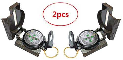 Alwaysuc 2pcs Multifunctional Military Compass, Amy Green, Waterproof and Shakeproof, Compass for Outdoor, Camping, Hiking by Alwaysuc