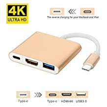 USB-C to HDMI Hub Adapter, E-Universal 3-in-1 USB Type C to HDMI 4K USB 3.0 Converter Charging Adapter for Apple MacBook with USB-C Port Chromebook Pixel Samsung Note 8 and more