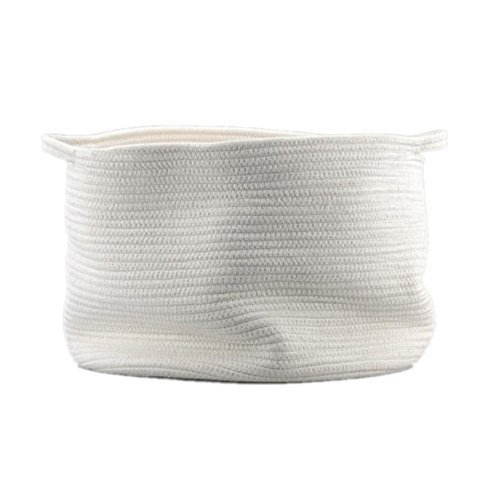 Generic Natural Large Cotton Thread Woven Rope Storage Basket Bin Hamper with Handles for Nursery Kid's Room Storage (White) (Set Rope Boxes Woven)