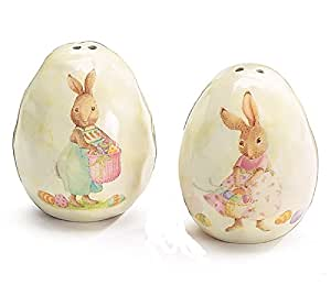 Easter bunny rabbit egg shaped salt and pepper shakers multicolor 2 5 x 2 x 2 - Egg shaped salt and pepper shakers ...