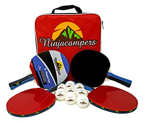 NinjaCampers Ping Pong Paddle Set of 4| Includes Portable Storage Case| 4 Odorless Paddles| 8 ABS Balls| Superior Speed, Control, Spin| Professional & Recreational| Indoor & Outdoor Matches