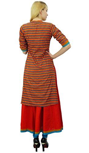 Phagun de mujeres de origen algodón Kurta geométrica Imprimir Kurti diseñador del vestido ocasional Multicolor
