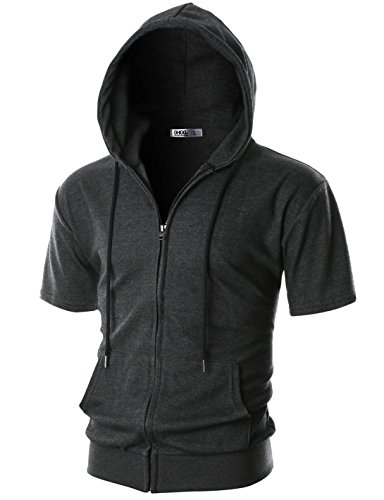OHOO Mens Slim Fit Short Sleeve Lightweight One-Tone Zip-up Hoodie with Kanga Pocket/DCF056-CHARCOAL-2XL