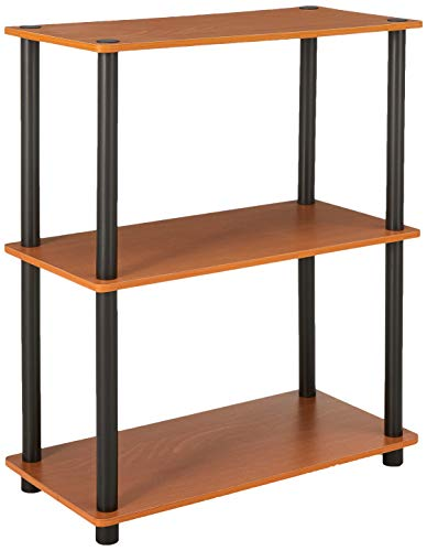 (Furinno 10024LC/BK Turn-N-Tube 3-Tier Compact Multipurpose Shelf Display Rack, Light Cherry)