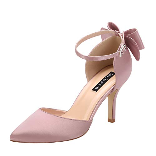 ERIJUNOR E1876B Wedding Evening Party Shoes Comfortable Mid Heels Pumps with Bow Knot Ankle Strap Wide Width Satin Shoes Rose Gold Size 10