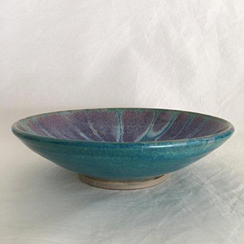 Turquoise ceramic bowl, Handmade Ceramic Bowl, Shallow Bowl TGJUL17SB2