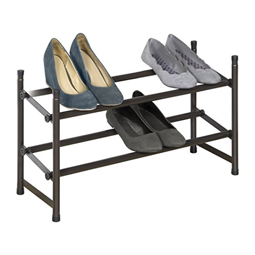 Richards Homewares Stackable Telescoping Shoe Rack-Metallic Bronze, - Rack Stackable Expandable Shoe