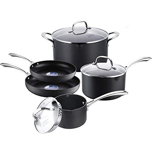 COOKSMARK Hard-Anodized Aluminum Pot and Pan Set Black Scratch Resistant Nonstick Cookware Set 8-Piece For Sale