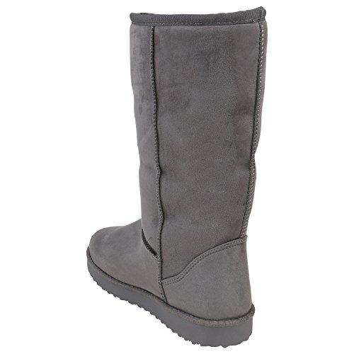Stiefelparadies Damen Kinder Schlupfstiefel Warm Gefütterte Stiefel Schleifen Schuhe Flandell Grau Carlet