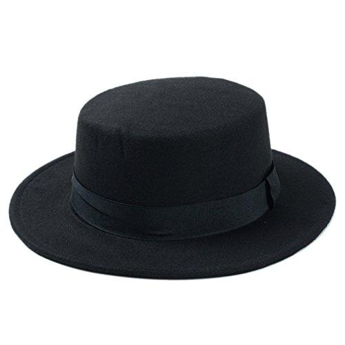 Elee Women Boater Hat Bowler Sailor Wide Brim Flat Top Caps Wool Blend (Black) (Bowler Black Felt Hat)