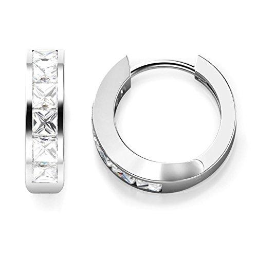 925 Sterling Silver Princess Cut CZ Cubic Zirconia Huggie Hoop Earrings