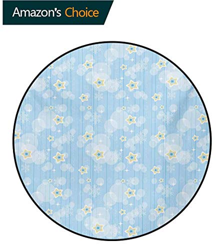 Winter Round Area Rugs Super Soft Living Room,Cute Kids Baby Pattern Night Sky with Soft Colored Stars New Year Theme Bedroom Home Shaggy Carpet,Round-71 Inch Baby Blue Yellow White