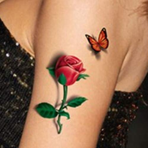High Quality 3D Estéreo Flor Simulación Tatuaje Etiqueta ...
