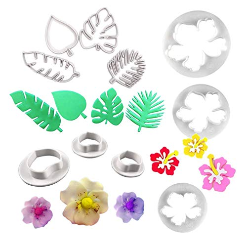 Tropical Palm Leaves Cutters- Hawaiian Flowers Fondant Cutter/Wild Rose Petals Gumpaste Cutters for Gum Paste, Sugarcraft Candy, Luau Cake -