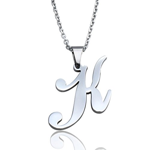 FUNRUN Womens Mens Stainless Steel Initial Letters Pendant Necklace Letter K