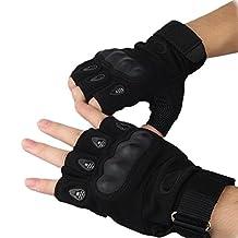 Men Black Cool Half-finger Fingerless Sports Gear Gloves